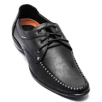 Giày công sở da thật cột dây phong cách giày lười nam LADA BASIC TN4-5 (Đen)