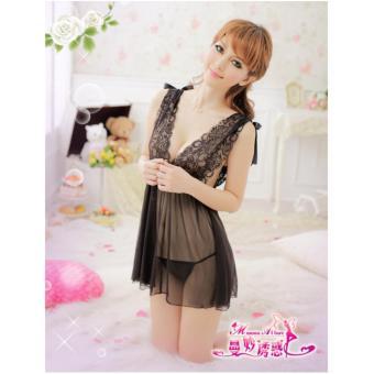 Đầm ngủ von ren cổ chữ V CDAN07 Kim Phát (đen)