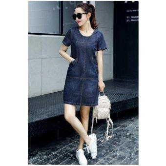 Đầm jean suông dạo phố phối túi cổ tròn thời trang BEYEU1688 - BY6147