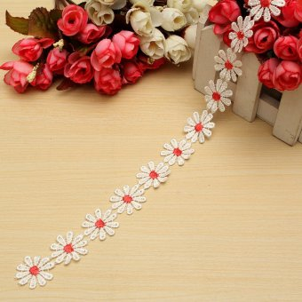 Flower Daisy Floral Bilateral Embroidered Edge DIY Lace Trim Ribbon Sewing Craft Red NEW - intl