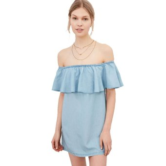 Zaful Casual Denim Dress Slash Flounce Women(Blue) - Intl