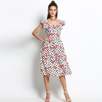 Sunweb Vintage Style Women Ruffle Sleeve Dots Cherry Print Midi Party Dress ( White ) - intl