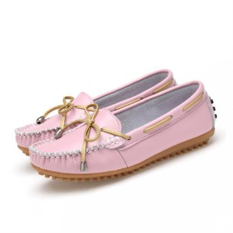 Women Genuine Leather Shoes Lace-up Ballet Flats ladies Round Toe Shoes - intl