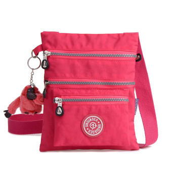 Waterproof Nylon Handbag Shoulder Diagonal Bag Messenger Hot Pink - Intl