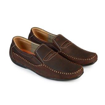 Giày Mọi Nam Da Bò Hùng Cường HC1208 (Nâu)