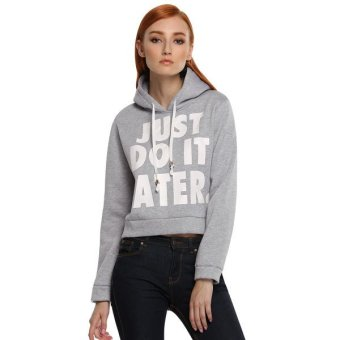 Cyber ACEVOG Women Fashion Long Sleeve Letter Print Casual Hooded Short Hoodie(Gray) - Intl