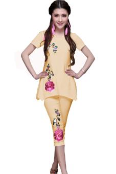 Bộ đồ thun nữ hoa hồng kiểu hàn quốc - giá gốc (Vàng)