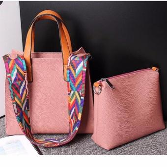 2PCS Set Womens PU Premium Leather Bag Top-Handle Bags Tote Bags Cross Body Shoulder Bags 2PCS Set - intl