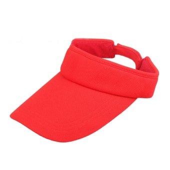 Visor Sun Plain Sports Cap Colors Golf Tennis Beach Hat Red