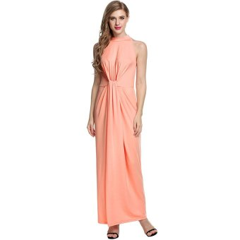 Cyber ANGVNS Elegant Women Sleeveless Twist Knot Front Slim Fit Maxi Long Dress - Intl