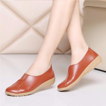 Giày đế bằng nữ da mềm đi bộ cực êm (Nâu)
