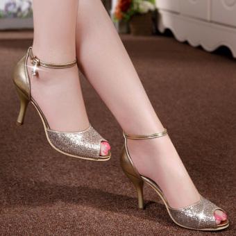 Giày cao gót khóa đá H.Q CG659 (Vàng)