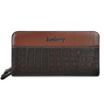 Men PU Leather Crocodile Zipper Clutch Wallet (Brown) - intl