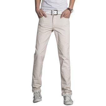 Oversize Solid Color Zipper Design Men Casual Pants - intl