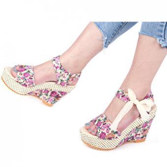 Summer Ladies Wedge Heel Sandals Flower Print Bowknot Lace Up Water Resistance (Pink) - intl