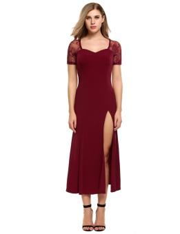 Cyber Women Sexy Lace Hollow out Patchwork Slim Pleated Split Hem Dress ( Dark Red ) - intl
