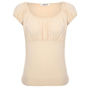 Cyber Angvns Women Fashion Casual Round Neck Short Sleeve Shirred Solid Stretch T Shirt Tops(Apricot) - Intl