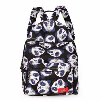 Women Cute Panda Print Backpack Canvas School Bag Girls Rucksack Satchel Bookbag Black - intl