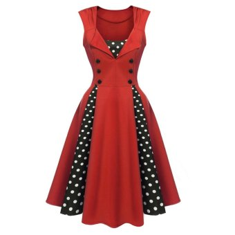 Sunweb Vintage Style Women Sleeveless Polka Dots Patchwork Party Midi Pleated Swing Dress ( Red ) - intl