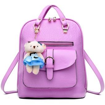 3 in 1 PU Leather Casual Outdoor Travel Tablet Bag Handbag Backpack Shoulder Bag with Bear Pendant Light Purple - intl