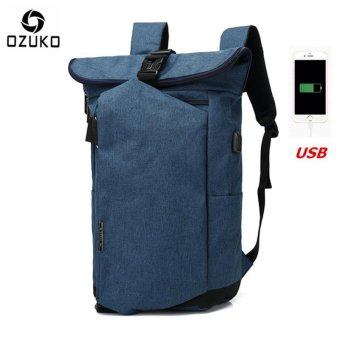OZUKO 2017 New Korean Style Men's Backpacks Fashion Laptop Computer Bags School Bags Casual Travel Bag (Blue) - intl