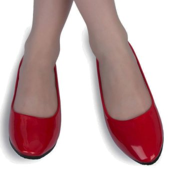 Casual Ladies Flat Shoes Solid Color Patent Leather (Red) - intl