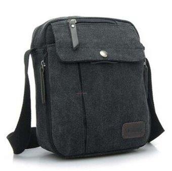 Unisex Fashion Retro Canvas Bag Shoulder Travel Bag Black - intl