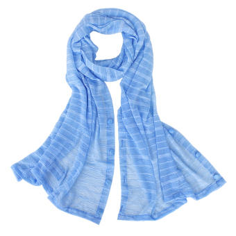 Woman Sun UV Protection Long Chiffon Pashmina Wrap Scarf Stole Shawl Blue - Intl