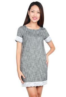 Đầm Suông Tay Phối Ren (Xám)