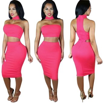 Gamiss Woman Polyester Hip Dress Backless Design (Rose Red) - intl