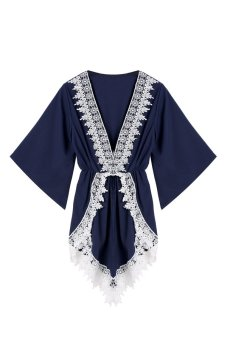Cyber Geometry Print Women Casual Jumpsuit Deep V Neck Elastic High Waist Jumpsuit (Blue) - intl