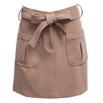 High Waist Pure Color Mini Dress with Belt - intl
