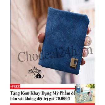 Ví cầm tay vuông nhỏ nhắn cho nữ CDVN02 (xanh dương đậm) + Tặng kèm khay đựng mỹ phẩm để bàn