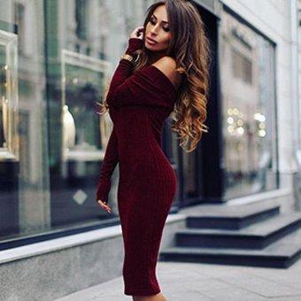 Sunweb Sexy Women Off Shoulder Slash Neck Long Sleeve Bodycon Ribbed Pencil Dress ( Wine red ) - intl