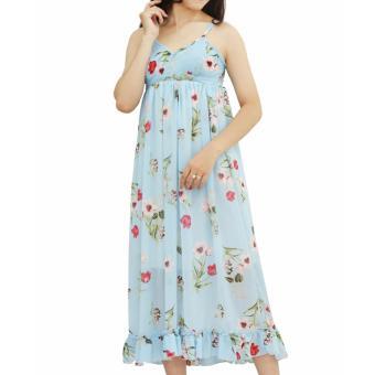 Đầm maxi hoa xanh