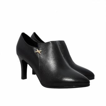 Giày bốt cao gót 8CM da bò (Đen)