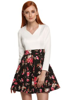Cyber Finejo Women Sexy V Neck Long Sleeve High Waist Floral Print Patchwork Pleated Short Mini Dress (White) - intl