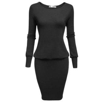 Linemart Sexy Women's O-Neck Long Sleeve Solid Packahe Hip Blouson Dress ( Amy Green ) - intl