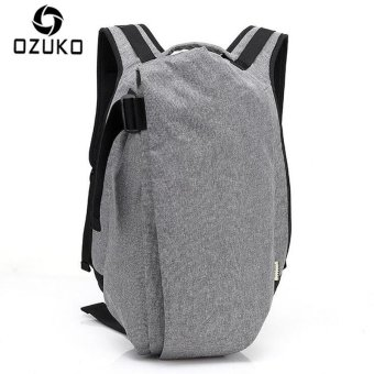 OZUKO Men Backpack Anti-theft Rucksack School Bag Casual Travel Waterproof Backpacks Male Laptop Computer Bag (Grey) - intl