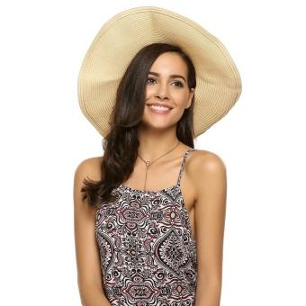 Cyber Women Fashion Summer Spring Bunch Straw Braided Round Wide Hat ( Beige ) - intl