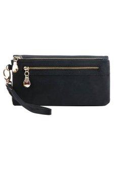 Bluelans Women Wallet Wristlet Card Coin Holder Long Clutch Zipper Purse Black (Intl)