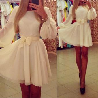 Women Summer Long Sleeve Chiffon Bandage Slim Formal Evening Party Dress (Intl) - intl