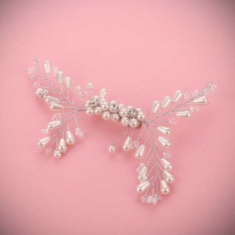 Pearl Floral Bridal Wedding Hair Combs and Bride HairPins Sets Headdress Jewelry Women Wedding Hair Sticks - intl
