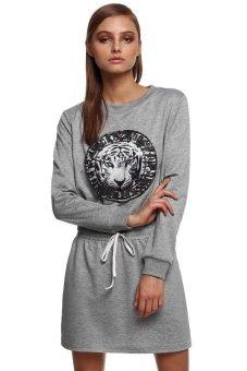 Sunweb Finejo Women Fashion Casual Round Neck Long Sleeve Elastic Waist Drawstring Patchwork Pattern Short Dress ( Gray ) - intl