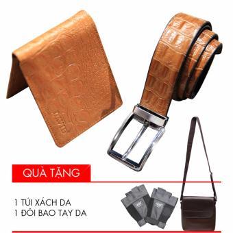 Bộ ví và thắt lưng da 2 mặt David (Nâu) + Tặng 1 bao da đựng Ipad và 1 găng tay