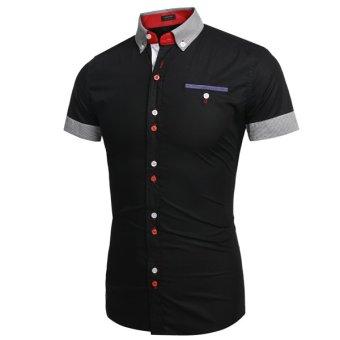 Cyber Coofandy Men Fashion Slim Fit Stripe Turn Down Collar Patchwork Short Sleeve Casual Shirt - Intl