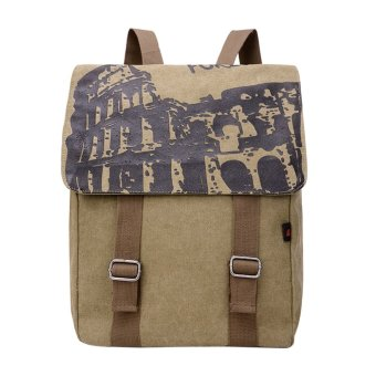 Men's Vintage Canvas Leather Backpack(Darki khaki) - intl