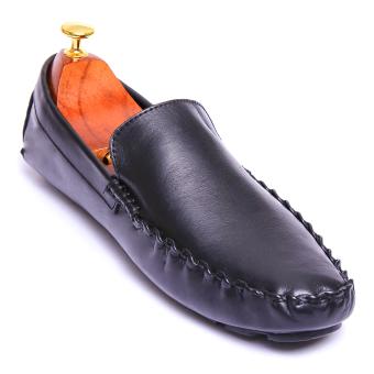Giày lười nam Da Thật Giày Da Miền Trung VCTAN150LZD2D-2 (Đen)