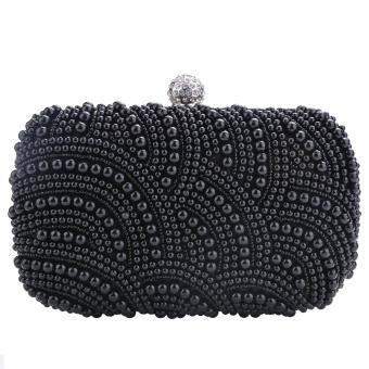 Sunwonder Women Clutch Bag Pearl Beaded Party Bridal Handbag Wedding Evening Purse (Black) - Intl