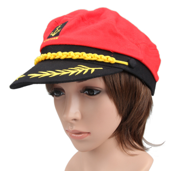 New Fashion Red Cool Navy Marine Sailor Sea Captain Hat Cap - Intl